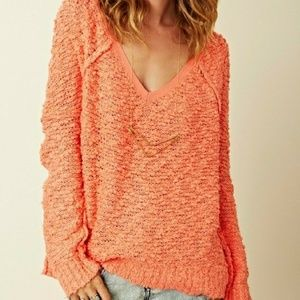 Free People Songbird Coral Pullover